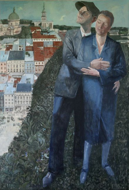 """Embrace-After Felixmuller  53"""" x 36""""  Oil On Canvas"""