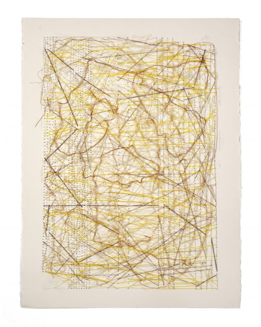 "Work On Paper Yellow  30"" x 22""  Thread Glued And Stitched On Paper"