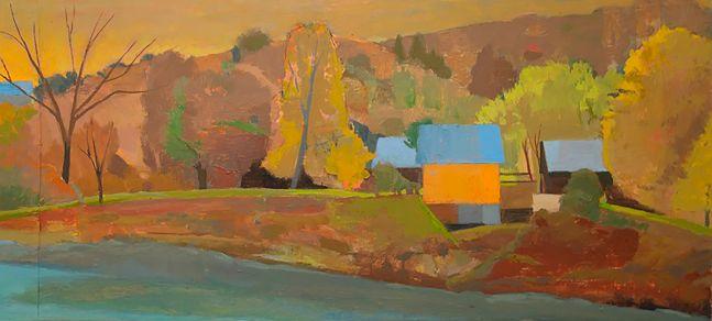 Celia Reisman, White River, oil on canvas, 10 x 22 inches