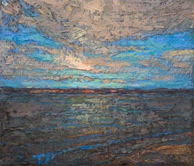 """Thomas Paquette, The Wide Deep River 3.25"""" x 3.5""""  Oil/Linen/Mounted On Panel"""
