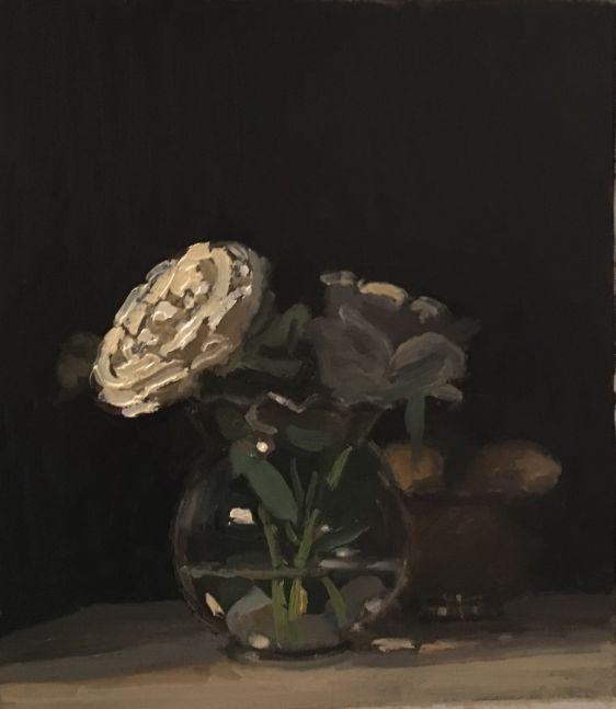"""White Rose  10.5"""" x 9""""  Oil On Panel"""