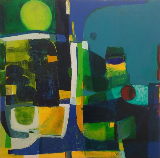 "Underwater Moonlight  47.5"" x 48""  Acrylic On Panel"