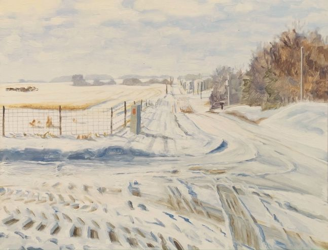 "Farm Road in Winter  11"" x 14""  Oil On Panel (SOLD)"