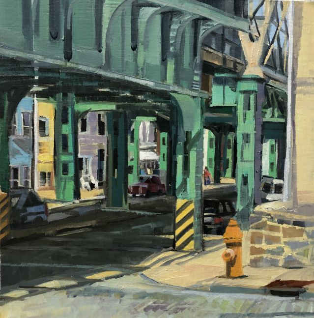 """Down Under The Elevated  10"""" x 10""""  Oil On Board"""