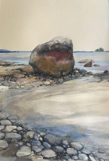 """Flye Point Rocks   22"""" x 15""""  Watercolor On Buff Paper"""
