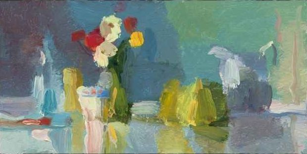 """Teacup, Flowers And Pears  8"""" x 16""""  Oil On Mounted Linen"""