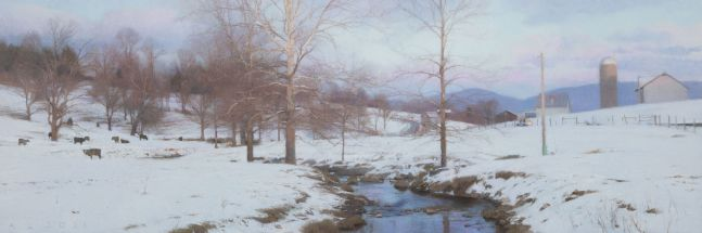 "Last Light, Swover Creek  20.25"" x 60""  Oil On Canvas"