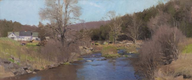 """North Branch, April  7.5"""" x 17.5""""  Oil On Panel"""