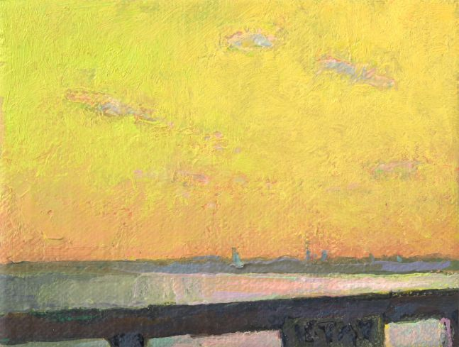 """Thomas Paquette, Stay In II (Green)  3.13"""" x 4.13"""" Oil/Linen Mounted On Birch Panel"""
