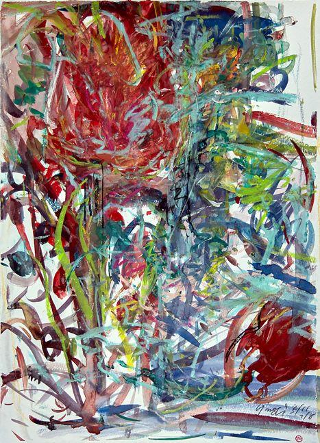 "Tulip #3  15"" x 11""  Mixed Media On Paper"