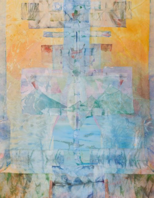 "Suspension  43"" x 34""  Acrylic And Thread On Silk"