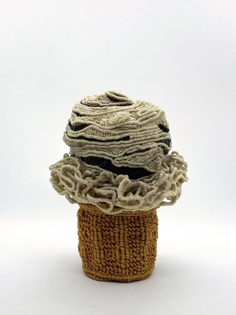 "Mocha Ice Cream Cone  7"" x 6"" x 6""  Waxed Linen And Cotton"