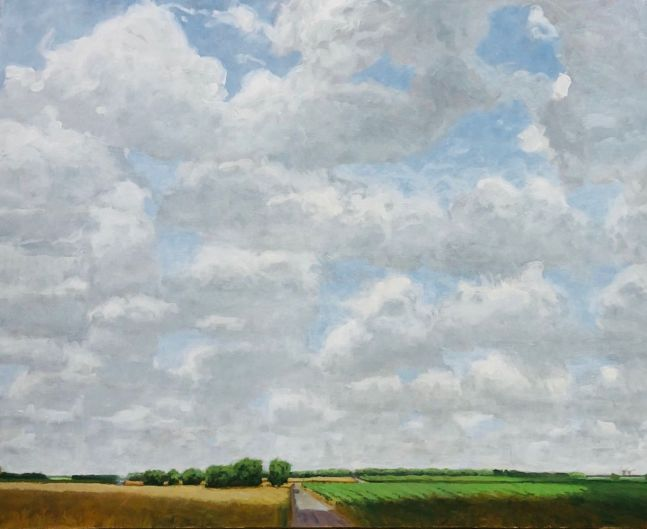 Saline County, Summer Sky  22″ x 40″  Oil On Canvas