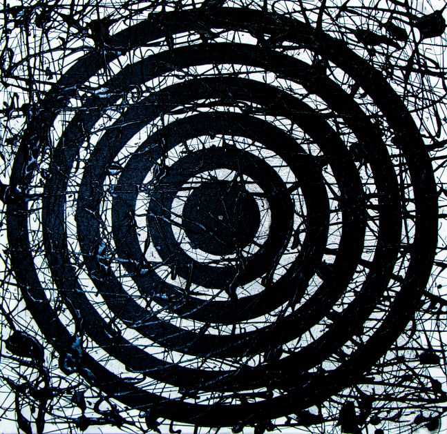 J. Steven Manolis, Black Concentric painting, 2018, Acrylic on canvas, Abstract Expressionism paintings for sale at Manolis Projects Art Gallery, Miami, Fl