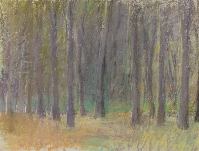Wolf Kahn, Oaks, Pastel on paper, 1988, 9 x 12 inches, Wolf Kahn Pastels, Wolf Kahn oil pastel, Wolf Kahn Pastels for sale, Wolf Kahn art for sale, Wolf Kahn original art for sale, Wolf Kahn Artwork, Wolf Kahn Landscape paintings, Wolf Kahn trees