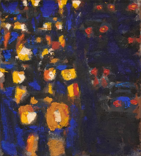 David Kapp, Cars Coming and Going, Oil on canvas, 20 x 18 inches