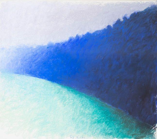 Wolf Kahn, Square Blue Tree Wall, 1989, Pastel on paper, 22 x 24 inches, Wolf Kahn Pastels,Wolf Kahn Pastels For Sale