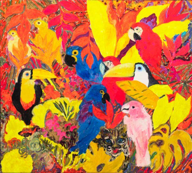 Hunt Slonem, Parrots, 1988, Oil painting on canvas, 66 x 44 inches, Hunt Slonem art for sale, Hunt Slonem bird paintings