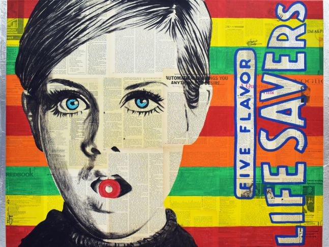 Jojo Anavim, Lifesaver, 2020, Collage, Foil and Acrylic on canvas, 30 x 40 inches, For sale at Manolis Projects Art Gallery, Miami Fl