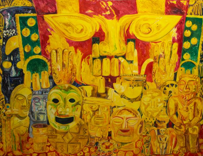 Hunt Slonem, Red Mask, 1985, Oil painting on canvas, 77 x 101 inches, Large scale painting, Hunt Slonem art for sale