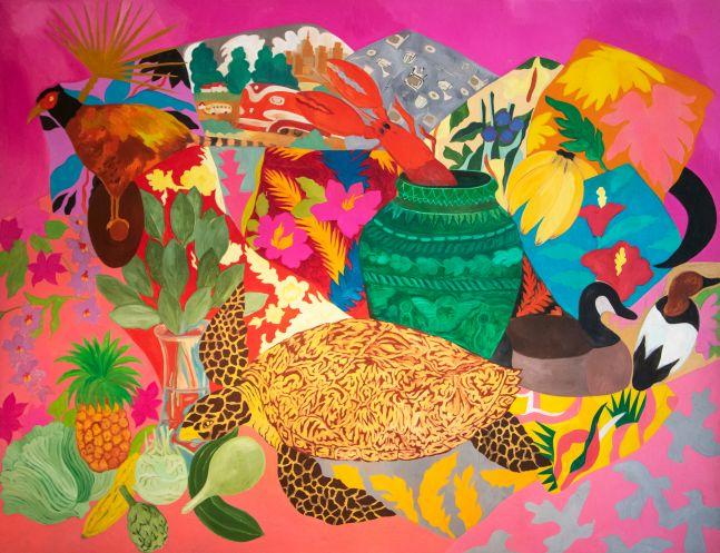 Hunt Slonem, Pheasant, 1985, Oil painting on canvas, 79 x 102 inches, Hunt Slonem art for sale, Hunt Slonem pillow series