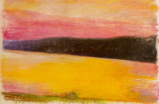 Wolf Kahn, Deep Red Sunset, 1991, Pastel, 15x22, Wolf Kahn pastel for sale, wolf kahn art