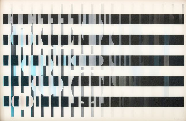 Yaacov Agam, Agamograph #123, c. 1960, screenprint on acrylic, 12 x 17 inches, edition 28 of 99, Yaacov Agam art for sale at Manolis Projects Art Gallery, Miami, Fl