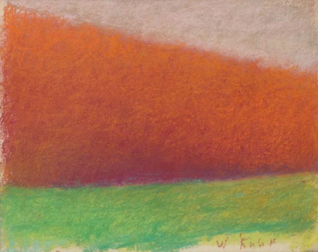 Wolf Kahn, Tree Wedge-RedOrange, 1994, Pastel, 8x10 inches,Wolf Kahn Pastels, Wolf Kahn Pastels for sale