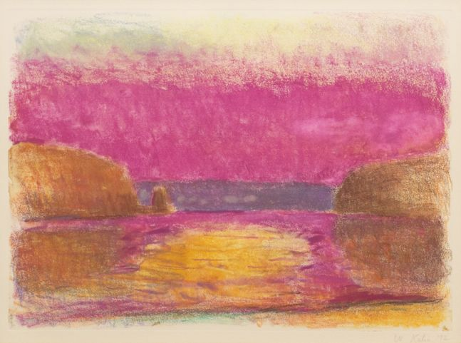Wolf Kahn, Connecticut River Sunset, 1992, monotype on paper, 15.5 x 22 inches, Wolf Kahn Monotype, Wolf Kahn art for sale