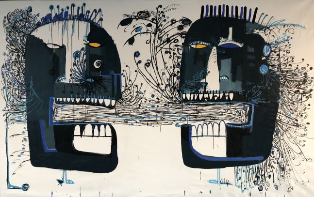 Fernanda Lavera, The Mind of Men II, 2018, Acrylic on canvas, 79 x 126 inches, Graffiti and Street Art for Sale at Manolis Projects Art Gallery, Miami, Fl