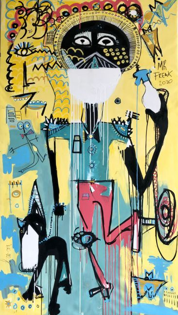 Fernanda Lavera, Mr Freak, 2020, 79 x 43 inches, Acrylic and Oil on canvas, Graffiti and Street Art for Sale at Manolis Projects Art Gallery