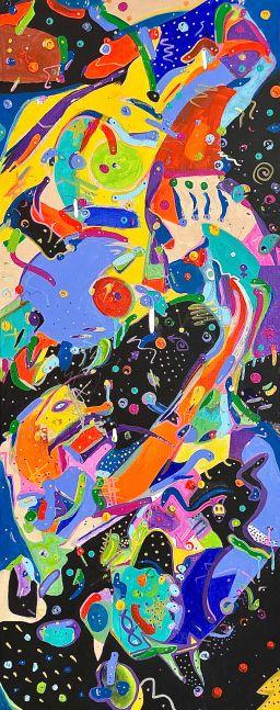 Ron Burkhardt, E.T. Corona Crisis in Capricornus Constellation, 2020, Acrylic painting on Canvas, 40 x 16 inches, contemporary art for sale