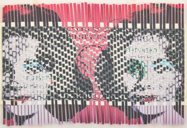 Oriane Stender, Liz Liz Dollar, 2003, Mixed media, dollar bill and paper, 3.5 x 6 inches, for sale