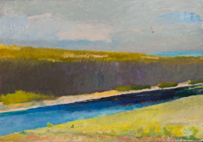 Wolf Kahn, River in Summer, 1981, oil painting, 36.5x51.25 inches, Wolf Kahn art for sale, Wolf Kahn Landscape Paintings, Wolf Kahn Oil Paintings