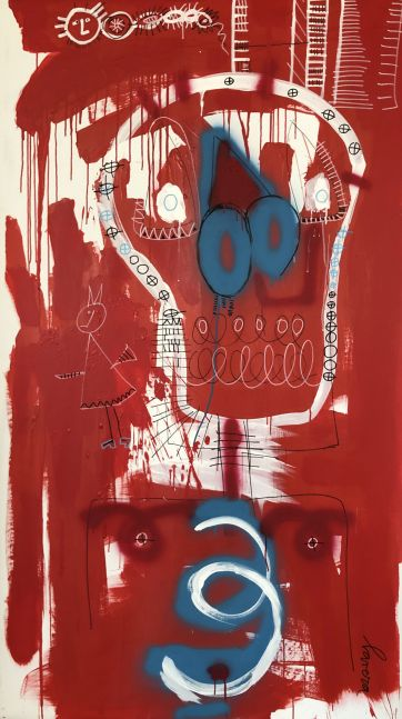 Fernanda Lavera, Modo Killer, 2020, acrylic on canvas, 79 x 45 inches, Graffiti and Street Art for Sale at Manolis Projects Art Gallery