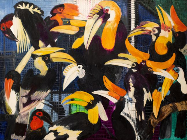 Hunt Slonem, Hornbills, 1989, Oil painting on canvas, 66 x88 inches, Large scale painting, hunt slonem birds, Hunt Slonem art for sale
