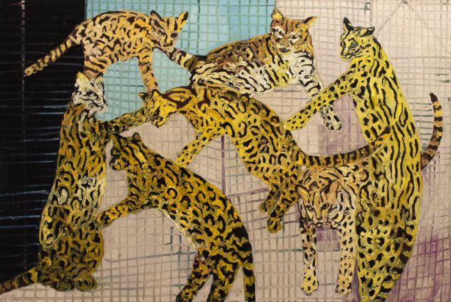 Hunt Slonem, Ocelots, 1988, Oil painting on canvas, 44 x 60 inches, Hunt Slonem art for sale