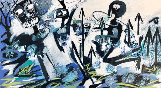 Fernanda Lavera, La Retirada, 2016, 78 x 141 inches, Graffiti and Street Art for Sale at Manolis Projects Art Gallery, Miami, Fl