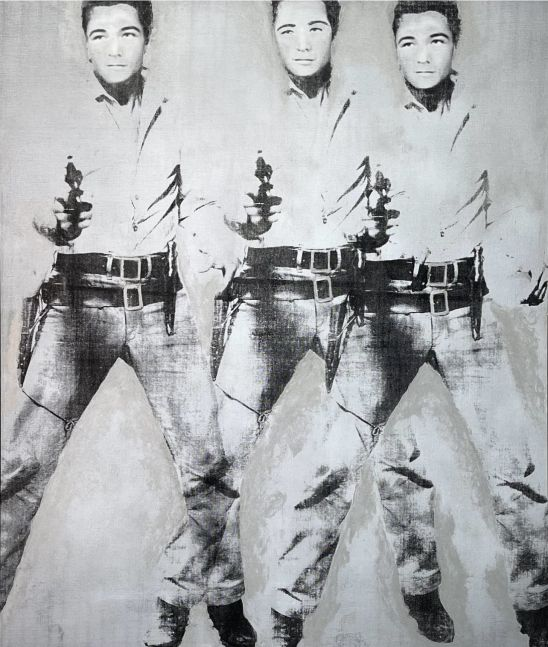 Bruce Helander, Triple Elvis (Self-Portrait), 2019  Acrylic on Canvas with Printed Background, 59 x 55 inches, Bruce Helander art for sale