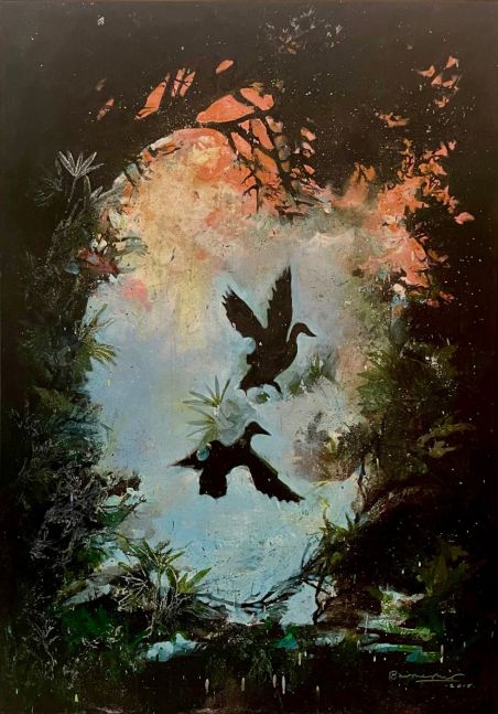 Bruce Helander, Nevermore, 2015, Acrylic embellished with glitter on Canvas with Printed Background, 58 x 40.5 inches, bruce helander art for sale