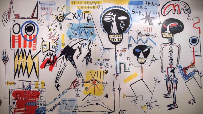 Fernanda Lavera, Mural Reaccion Visceral, 2017 Acrylic on Canvas, 109h x 185w inches, For sale at Manolis Projects Art Gallery, Miami Fl