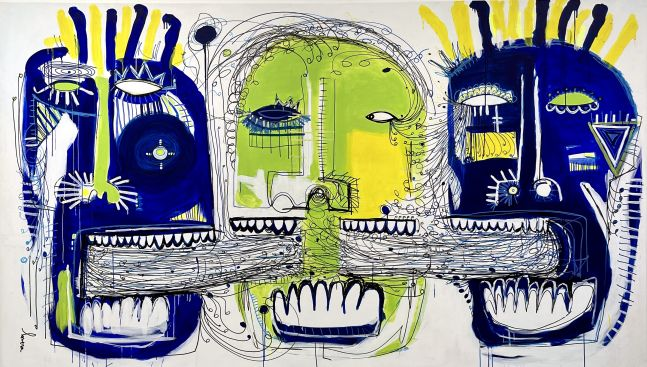 Fernanda Lavera, The Mind of Men III, 2018, Acrylic on canvas, 77.5 x 135 inches, Graffiti and Street Art for Sale at Manolis Projects Art Gallery, Miami, Fl
