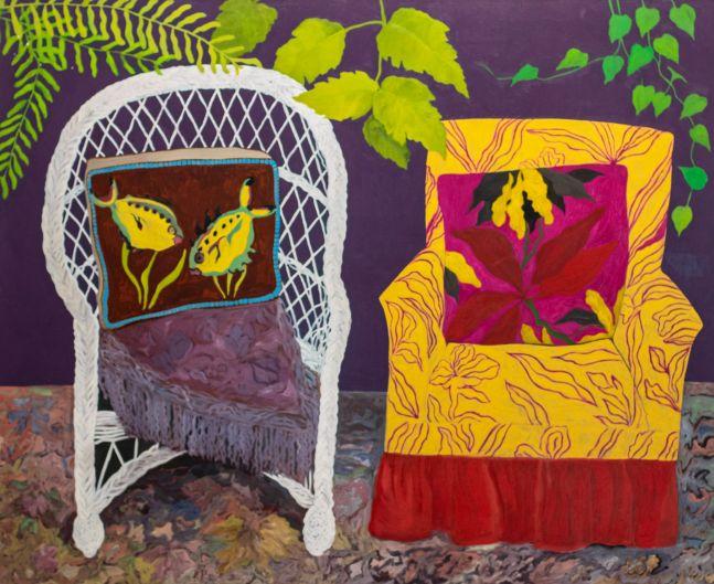 Hunt Slonem, chair duet, 1977, Oil painting on canvas, 70 x 58 inches, Hunt Slonem art for sale, pillow series