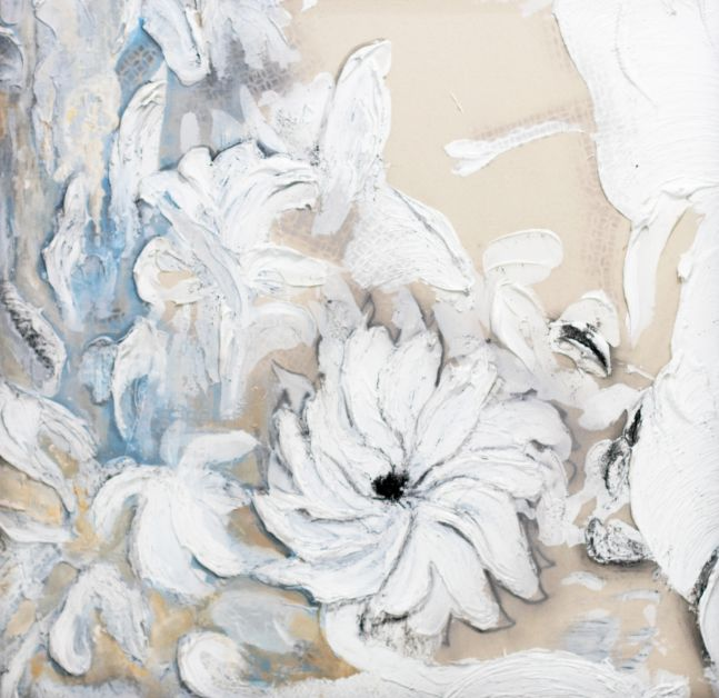 Robert Bery, Sunflower in the Heat, 2020, Acrylic, Oil, Gunpowder on Canvas, 48h x 48w