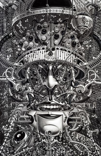 Samuel Gomez, Decrypted Savants, 2014, Graphite and ink on paper, 72 x 48 inches