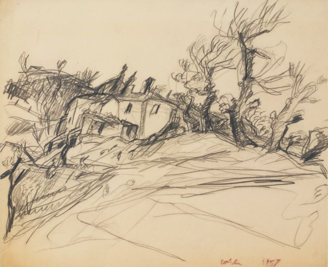 Wolf Kahn, In Tuscany, 1957, Pencil on paper, 14 x 17 inches, Wolf Kahn art for sale, Wolf Kahn Drawings
