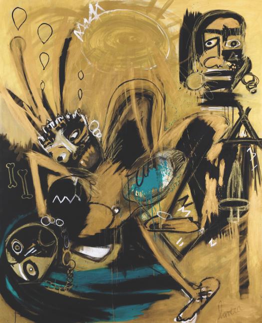 Fernanda Lavera, Octavo Mandamiento, 2014, acrylic painting on canvas, graffiti and stret art For sale at Manolis Projects Gallery, Miami. FL