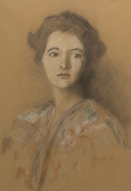 Edmund C. Tarbell, My 3 Granddaughters Portrait, 1937, Pastel, 25 x 16 inches