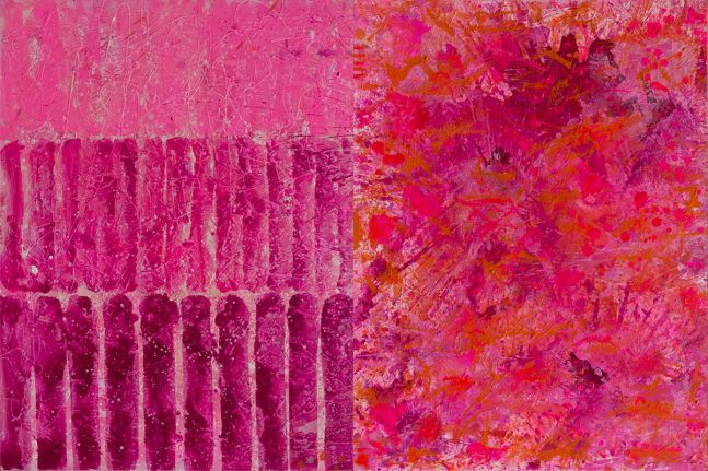 J. Steven Manolis, Flamingo painting, 2020, 48 x 72 inches, Abstract Expressionism paintings for sale at Manolis Projects Art Gallery, Miami, Fl