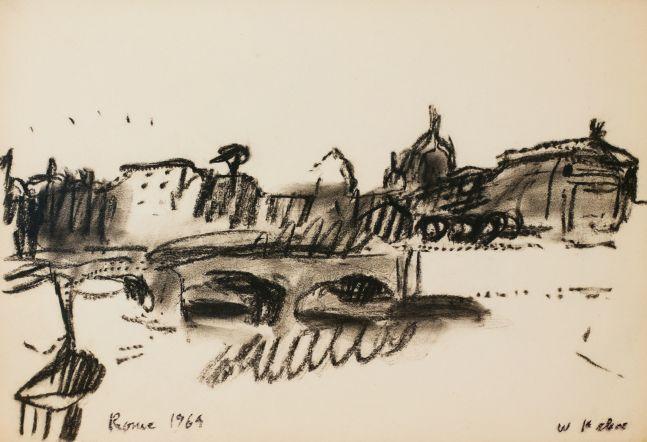 Wolf Kahn, Tibor Bridge, 1969, Monotone Pastel, 13.25 x 19.25 inches, Wolf Kahn art for sale, Wolf Kahn Drawings